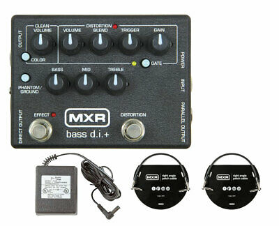 c5fcf07d77ad MXR M80 Bass Direct Box with Distortion + Power Supply + Patch Cables