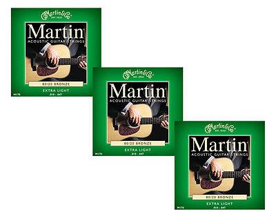 Martin M170 80/20 Bronze Round Wound Extra Light Ac-Guitar Strings 3-Pack