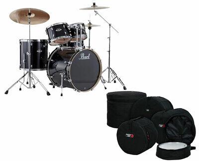 Pearl Export 5-Piece Drum Set (Jet Black) + Hardware + Gator Drum Bag Set