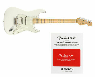 Fender Player Stratocaster HSS Polar White w/ Maple FB + Fender Play 12 M Card