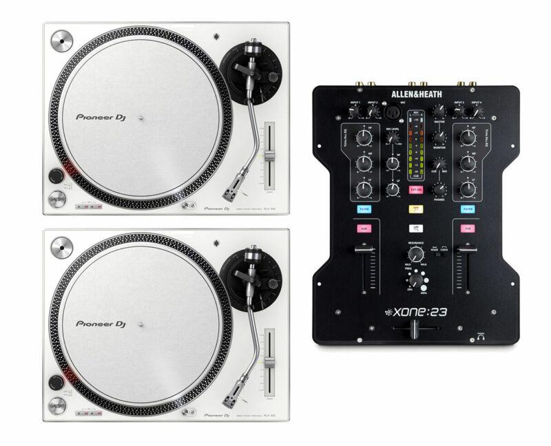 2x Pioneer PLX-500 White PLX500W Direct Drive DJ Turntable + Xone:23