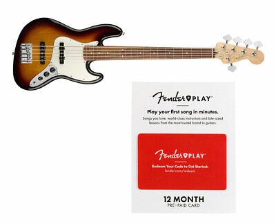 Fender Player Jazz Bass V 3-Color SB w/ Pau Ferro FB + Fender Play 12 M Card