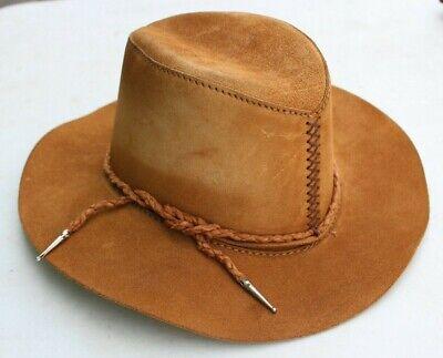 HEAD'N HOME ADVENTURER STYLE BROWN LEATHER COWBOY HAT SIZE M WITH UNIQUE BAND](Unique Cowboy Hats)