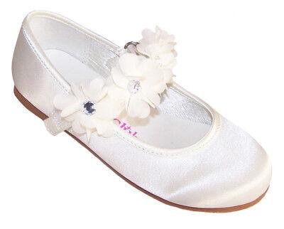 Girls Ivory Satin Ballerina Shoes Flower Girl Bridesmaid Wedding Party Occasion - Flower Girl Satin Schuhe
