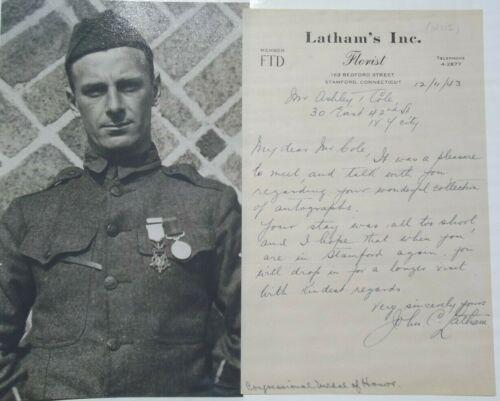 John C. Latham Medal Honor Recipient World War I Autograph Rare