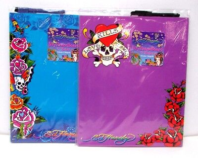 (Ed Hardy Lisa Frank Dry Erase Board w Marker & 2 Magnets Flowers Skulls NEW)