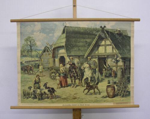 altes Wandbild Germanisches Gehöft um Christi Geburt 94x66cm ~1935 vintage chart