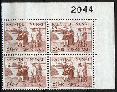 Greenland 1971, 250th Anniv Hans Egde setlers II 2044 imprint block MNH, Mi 77