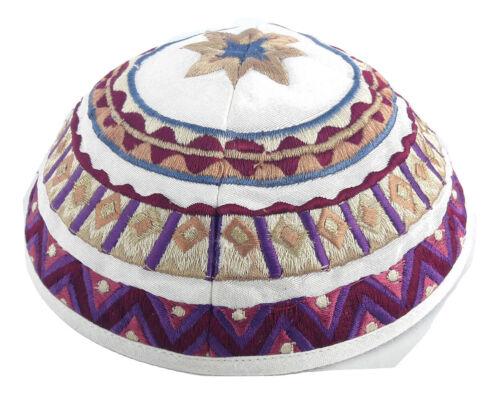 """Kippah Yarmulke Embroidered Jewish Kippas Emanuel -star-White&Colorful 21cm/8.2"""""""