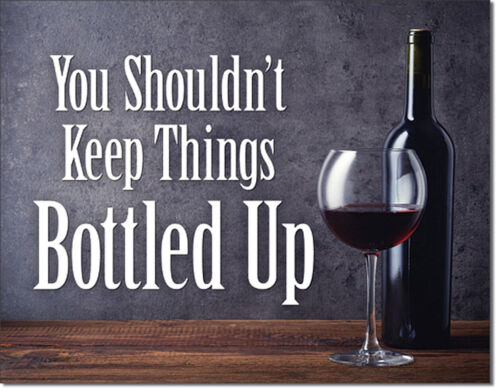 Wine Bottled Up Tin Metal Sign 16 x 13in