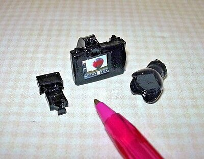 Miniature 3-Piece Shiny Black Resin Camera Set DOLLHOUSE 1/6 (Barbie) Scale?