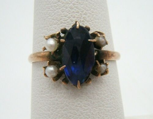 ANTIQUE 14K GOLD RING BLUE SAPPHIRE & PEARLS