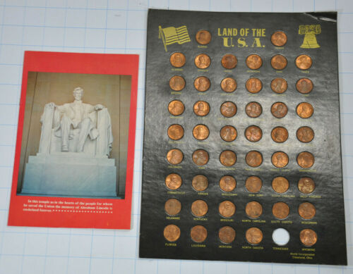 Land of The USA Lincoln Pennies with the States Outline stamped on front 1976