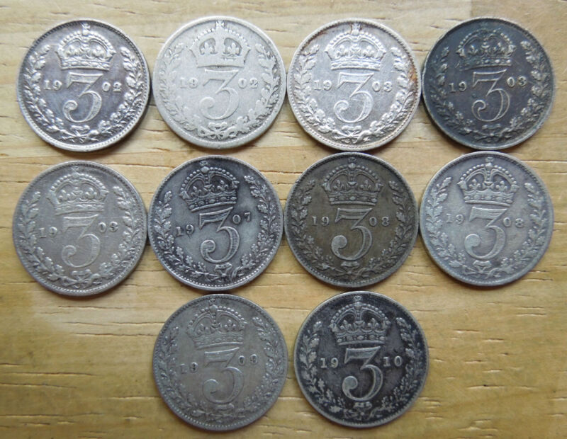 Great Britain GB UK 1902-1910 King Edward VII Silver 3 Threepence Coins