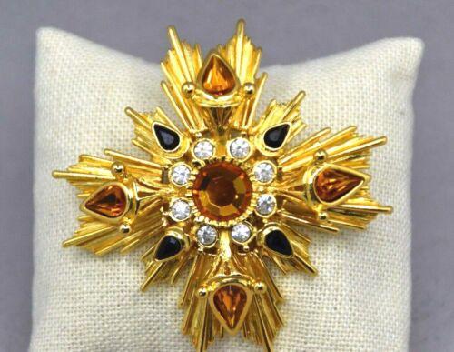 Joan Rivers Gold Tone Maltese Cross Brooch