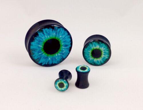 8pc Blue Eyeball Eye Double Flare Saddle Plugs - Small Gauge Wholesale Lot
