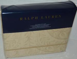 RALPH-LAUREN-Fleur-Du-Roi-QUEEN-DUVET-COVER-NWT-Paisley-Floral-TAN-GOLD-COTTON