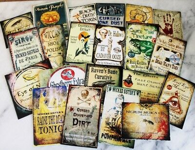 21 Halloween Vintage prim Witch Apothecary potion bottle Label stickers Series 6
