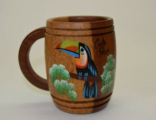 Teak Wood Mug with Hand-Painted Toucan from Costa Rica Nice