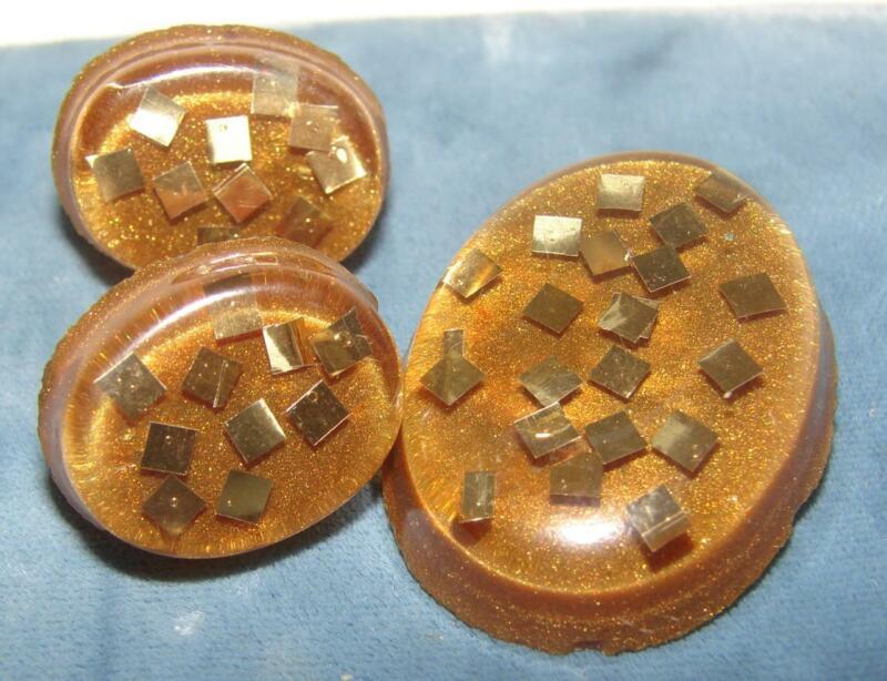 Vintage Dark Brown Gold Glitter Lucite Pin & Matching Earrings Set