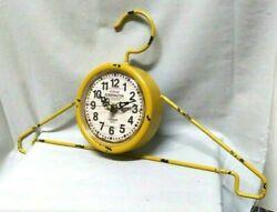 Kensington Station London 1879 Wall Clock Wire Hanger Design Yellow ~ Working