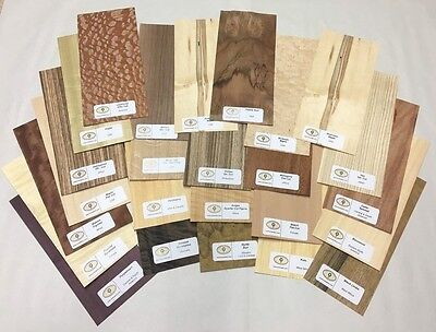 25 Pc Wood Veneer Mixed Pack - Identification Kit Domestic Exotic Rawunbacked