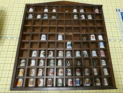 Vintage Collectible States Advertisement Ceramic Metal Thimbles & Display Shelf
