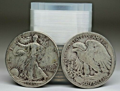 Roll Of 20 Walking Liberty Half Dollars $10 face Value 90% Silver