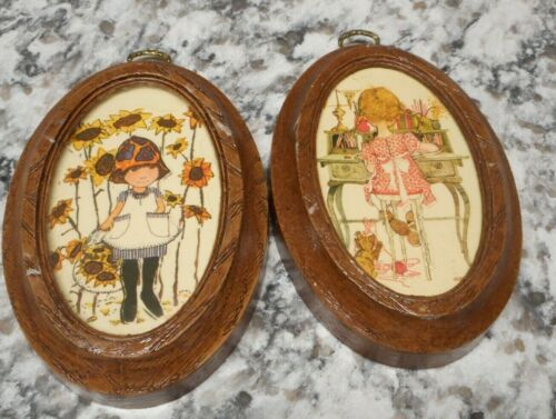 Lot of 2 Vintage Doll Round Picture Frames Oval Old