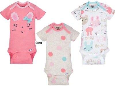 GERBER BABY GIRL Organic Cotton Onesies Bodysuits 3-Pk. Baby Gift - Pink - Bunny Baby Cotton Short Sleeved Onesie