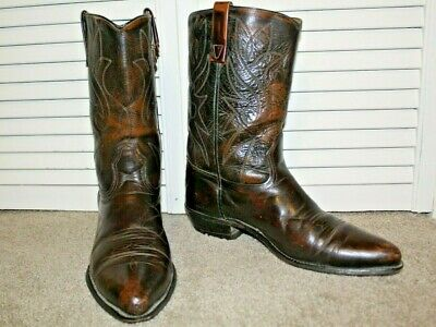 "MENS VINTAGE ACME DARK BROWN LEATHER 12"" MID CALF WESTERN COWBOY BOOTS SIZE 11 D"