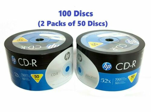 100 Hp Cd Cd-r Logo Branded 52x Blank Media Disc 700mb