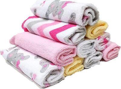 Waschlappen 10 Stück im Set für Kinder / Baby´s rosa grau weiß