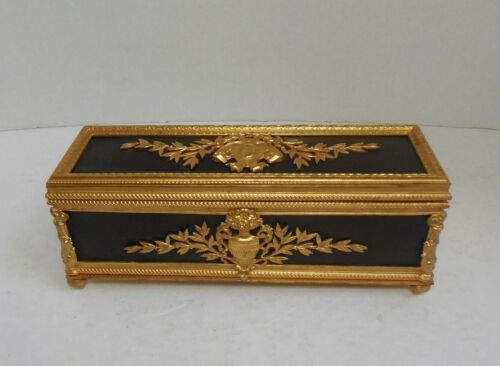 Antique French (?) Dore Bronze Gilt & Wood Long Box