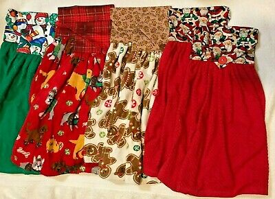 Choice Set of 2 NEW handmade cloth top hanging kitchen towels Christmas themes - Kitchen Themes