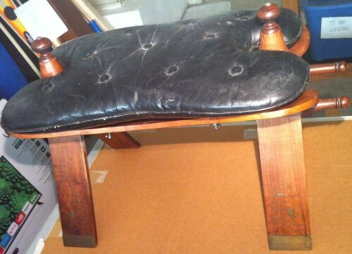 Vintage Camel Saddle Wood Frame Brass Inlay Foot Stool Leather Seat