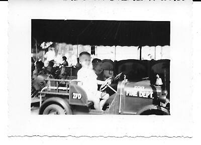 BOY ON FIRE TRUCK RIDE AT CINCINNATI ZOO, VINTAGE 1948-1950 PHOTOGRAPH On Fire Photo