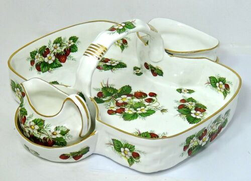Hammersley Bone China Strawberry Basket Sugar&Creamer, Strawberry Ripe, ENGLAND