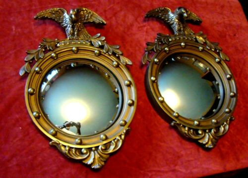 Antique - Pair - Federal Eagle - Convex Mirrors - Heavy Wood Portal Frames - S@@