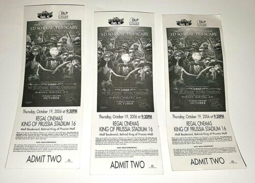 DISNEY PICTURES PROMO ADMISSION TICKET NIGHTMARE BEFORE CHRISTMAS 3D MOVIE LOT/3