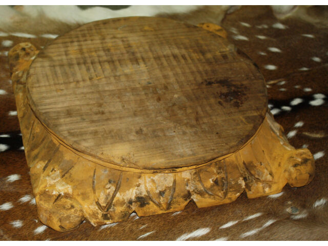 *Carved Wooden PEDESTAL Base RISER ARCHITECTURAL Capital Cheese Cake Plant Stand