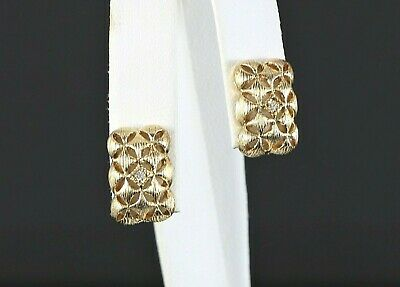 $2,950 Vintage Mikimoto 18K Yellow Gold Diamond Brush Finish Clip On Earrings