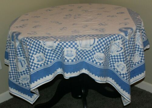 "tablecloth, vintage Dutch-like blue designs on white cotton blend, 56"" square"