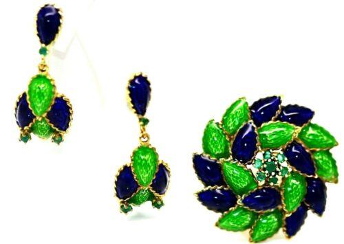 Stunning 14k Gold, Blue & Green Enamel & Emerald Italian Brooch & Earring Set