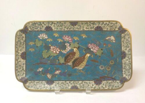 """Mid-19th C. Japanese Cloisonne 13"""" Tray, Floral with Quail"""