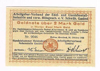 Notgeld Schwäbisch Gmünd, HK u. Arbeitgeberverband, 2 GMk, 30.10.23  (G3/76)