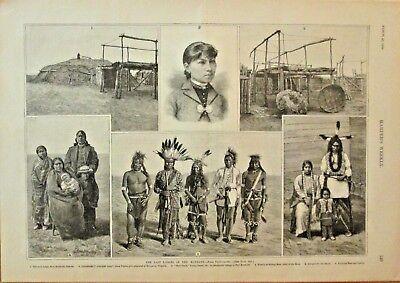 The Last Lodges Of The Mandan, Native Americans, Vintage 1889 Antique Art Print