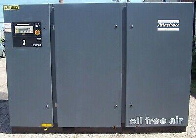 Atlas Copco 86 Hp Oil Free Air Compressor 51 Psig Model Ze75 1998 Year Built