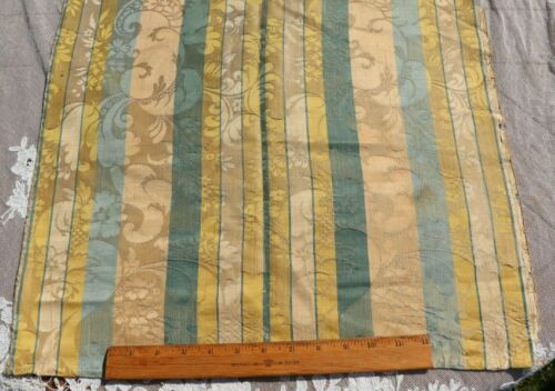 """French Antique 18thC c1770 Silk Damask Fabric~Emberline~Blues,Yellows~35""""X20"""""""
