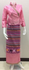 Thai Lao Traditional dress cloth women for fancy cosplay - Pink